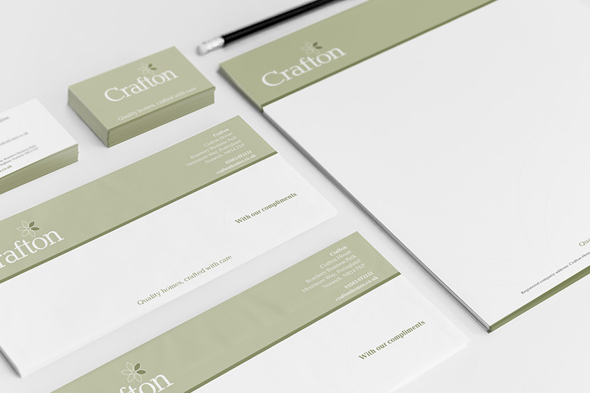 Crafton branding applied to stationary